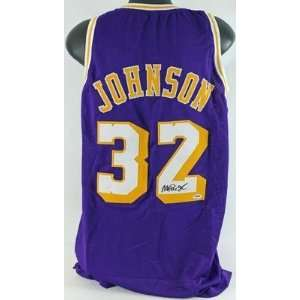 Magic Johnson Autographed Uniform   Away Psa dna #3a62468