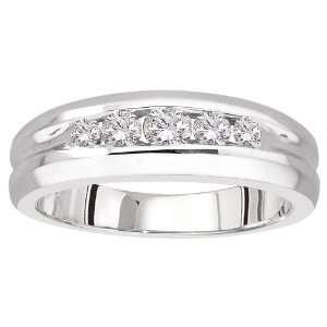 14k White Gold Diamond Mens Ring (1/2 cttw, H I Color, I1