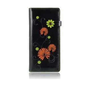 ESPE Mums Black Flowers Large Long Clutch Wallet Coin Card
