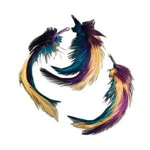 Midwest Design Natural Feather Picks 3/Pkg 5 Gold/Teal