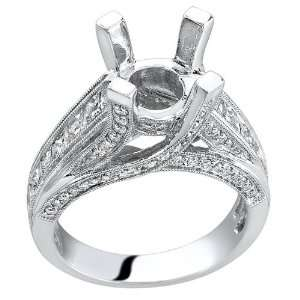 Crossed 18K White gold 1.63cttw Princess Cut and Round Diamond Ring