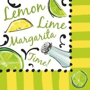 Cocktail Size Paper Napkin,Lemon Lime Margarita Time:
