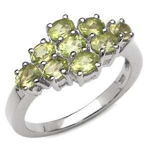 1.80 Carat Genuine Peridot Sterling Silver Ring Jewelry