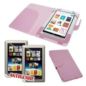 Premium Pink Leather Flexible Case + 2 packs of Anti Glare