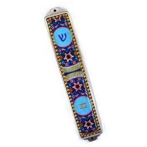 Blue Flowers Designer Decorative Mezuzah by Iris Design