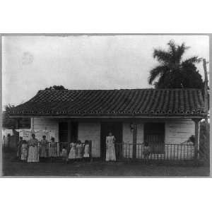 posed,house,laundry line,homes,porches,Cuba,1898