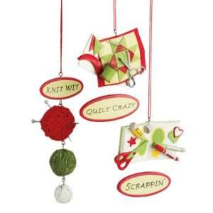 Knit / Quilt / Scrapbooking Christmas Ornaments (Set of 3