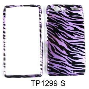 CELL PHONE CASE COVER FOR MOTOROLA DROID RAZR TRANS PURPLE ZEBRA Cell