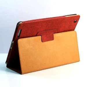 ZuGadgets Red / Lizards pattern Leather Flip Stand Case