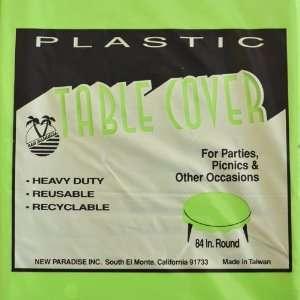 Premium Plastic 84 Round Table Cover   Apple Green