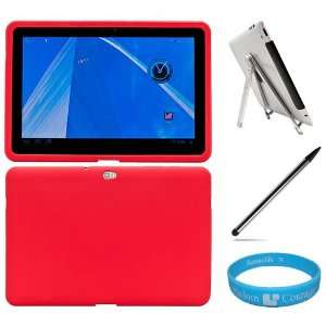 Red Silicone Skin Cover for Samsung Galaxy Tab 10.1 inch Tablet fits