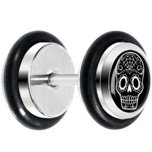Gauge Black White Sugar Skull Art Cheater Plug Body Candy Jewelry