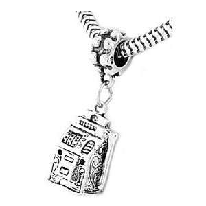 Sterling Silver Large Slot Machine Dangle Bead Charm Jewelry