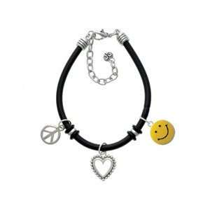 Smiley Face Black Peace Love Charm Bracelet Arts, Crafts