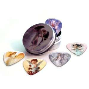 Angels Premium Guitar Picks x 5 With Tin Musical Instruments