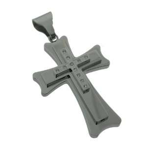 Stainless Steel Silver Multi Layered CZ Cross Pendant Jewelry
