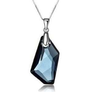 Blue Montana Crystal Pendant Necklace Used Swarovski Crystals