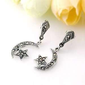 Moon & Star Design and Gorgeous Swarovski Crystal,Free Jewelry Box