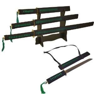Black and Green Slayer 3 Ninja Sword Set Sports & Outdoors