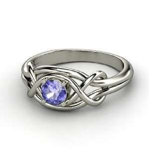 Infinity Knot Ring, Round Tanzanite Sterling Silver Ring Jewelry