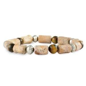 Silver, Tiger Eye and Picture Jasper Beaded Stretch Bracelet Jewelry