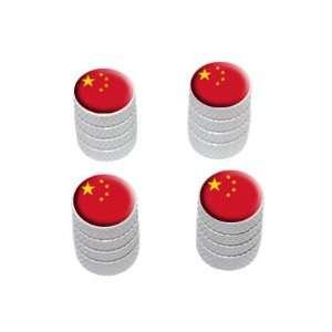 China Flag   Tire Rim Wheel Valve Stem Caps   White Automotive