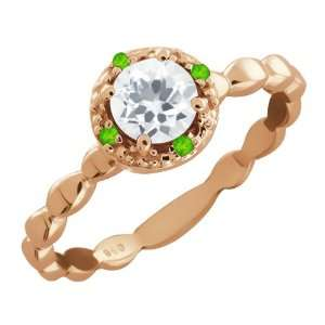 63 Ct Round White Topaz and Green Peridot 14k Rose Gold Ring Jewelry