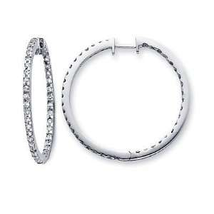 14k White Gold New Round Diamond Hoop Earrings 1.15 ct (G H Color, SI2