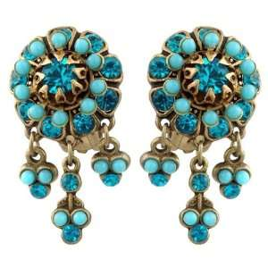 Turquoise Swarovski Crystals and Dangle Ornaments; Vintage Style