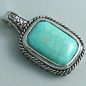 Silver Plated Turquoise Egyptian Pendant   Ladies Necklace