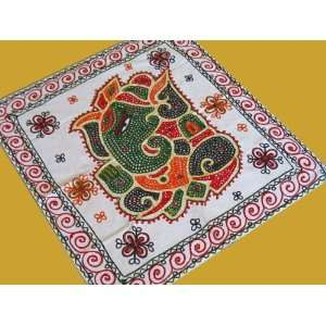 GANESHA INDIAN EMBROIDERED TAPESTRY WALL HANGING DECOR