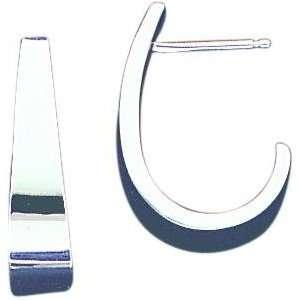 White gold J Hoop Earrings Polished Jewelry New D