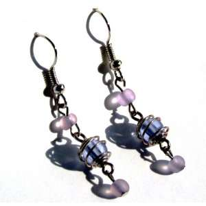 Wire Wrapped Beaded Blue Earrings Fashion Jewelry