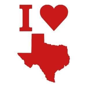 I Love Texas medium 7 Tall RED vinyl window decal sticker