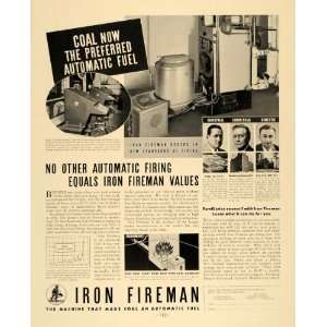 1936 Ad Iron Fireman Coal Automatic Fuel Machine Firing   Original