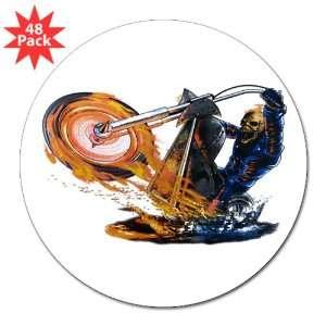Flaming Skeleton Skull Riding Flaming Motorcycle Bike