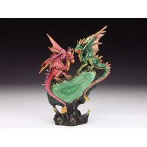 Red and Green Dragons with Geode   Statue / Figurine Home