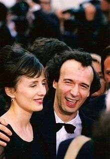 Benigni and wife Nicoletta Braschi at the 1998 Cannes Film Festival