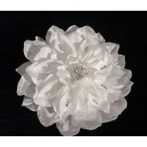 White Wedding Flower Hair Clip Fancy Jeweled Rhinestone Floral Bridal