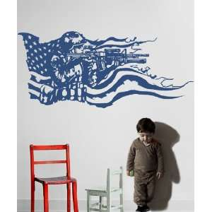 Vinyl Wall Decal Sticker America Flag with U.S. Soldier