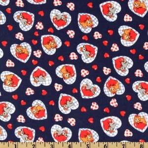 60 Wide Love Animals Hearts Navy/Red Fabric By The Yard