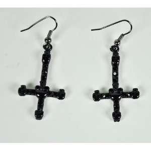 Black Inverted Skull Cross Earrings Death Metal Evil Satan