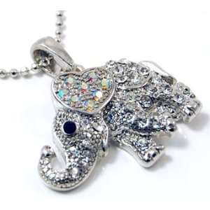 Little Crystal Elephant with Heart Charm Silver Necklace Jewelry