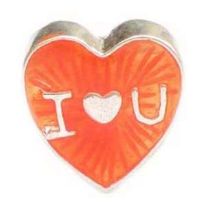 TOC BEADZ Orange I Love You Heart 12mm Enamel Bead