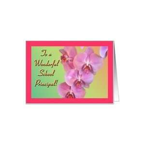 Thank You School Principal  Exotic Orchids on Pastel Background Card