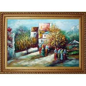 Village Street in Sunny Day Oil Painting, with Exquisite Dark Gold
