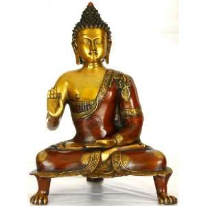 Buddha in Vitark Mudra   Brass Sculpture Home & Kitchen