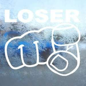 Loser White Decal Car Window Laptop Vinyl White Sticker