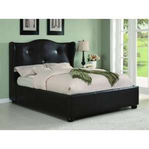Oliver Dark Brown Faux Leather Wing Bed   Coaster 300192Q