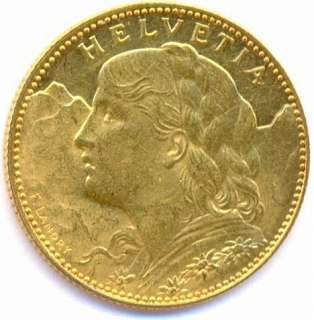 SWITZERLAND 10 FRANCS KM 36 GOLD COIN HELVETIA 1913